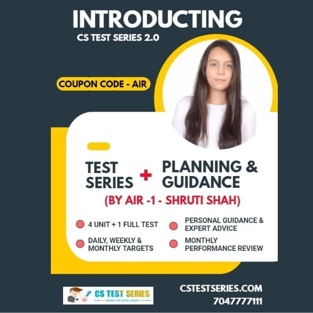 Upgrade To CS Test Series 2.0 | Premium Test Series + Schedule Planning by ALL India Ranker - 1