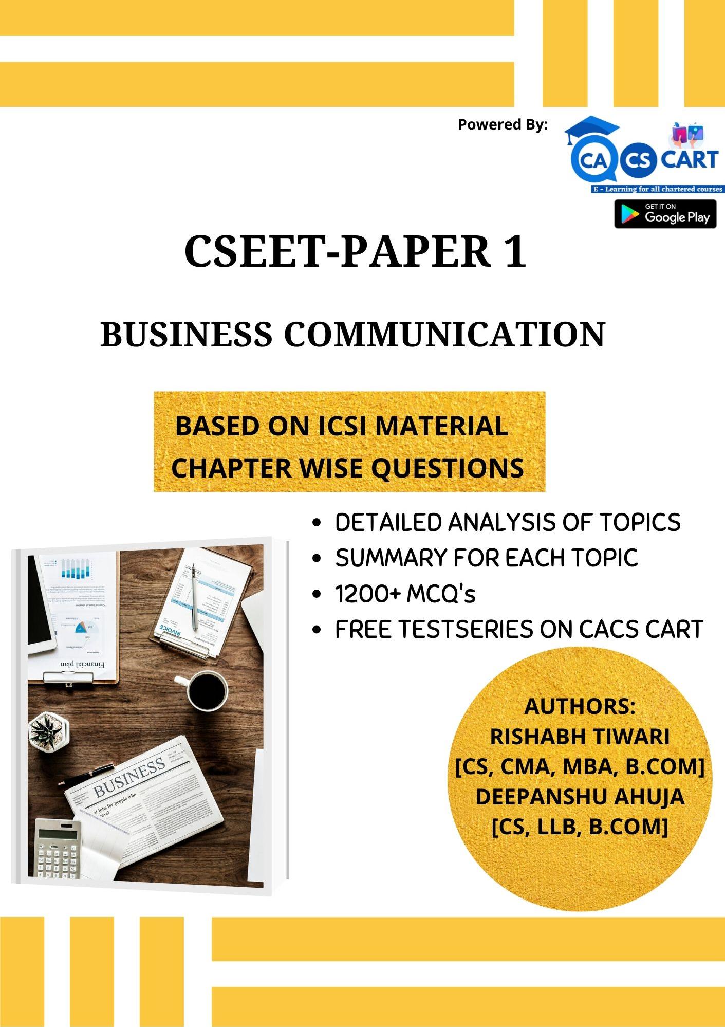 CSEET PAPER 1 - Business Communication Book