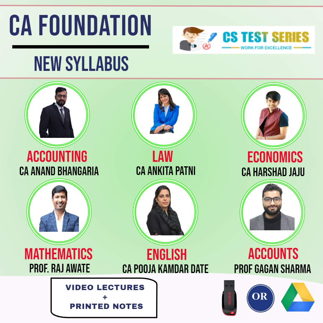 CA FOUNDATION Complete CA FOUNDATION With Basic Account Full Lectures CA Anand Bhangariya CA Ankita patni CA harshad jaju Prof Raj Awate  Prof Gagan sharma