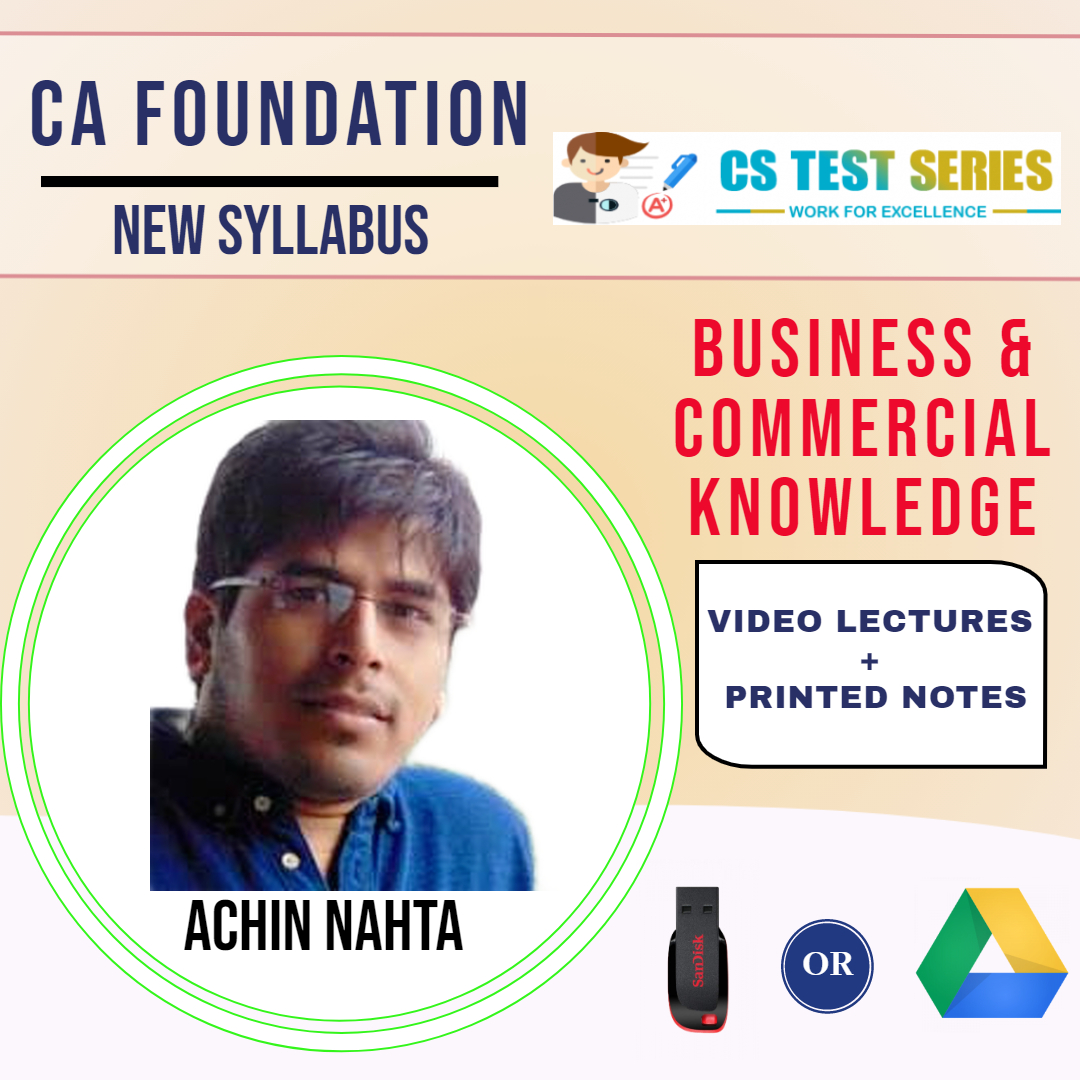 CA Foundation Business & Commercial Knowledge Video Lectures by Achin Nahta (USB)