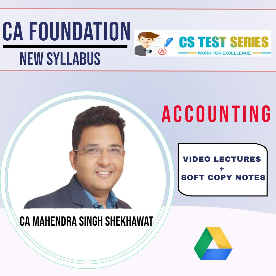 CA Foundation - Accounts By CA Mahendra Singh Shekhawat
